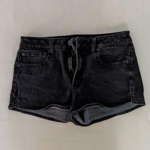 AEO black denim high-waisted  shorts